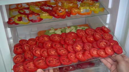 ipuçları : Freezing fresh vegetables at home. Food, storage, dieting and people concept Stok Video
