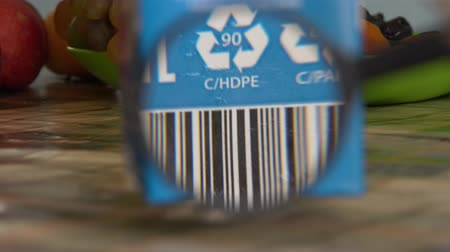 Marking, labeling and packaging of food. Composite material. Waste management Stock Footage