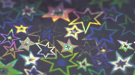 Holographic stars. Shiny texture. Rainbow hologram background Стоковые видеозаписи