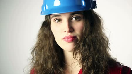 helmets : businesswoman with blue helmet