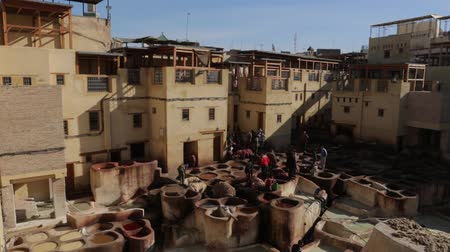 fas : Leather Tannery And Dyeing. In Morocco Fes Stok Video