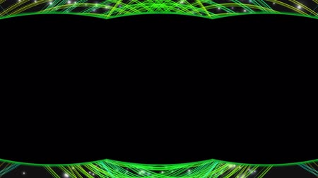 garniture : frame alpha canal abstract background. green wave Stock Footage