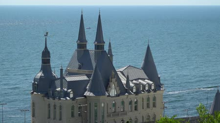 konak : Odessa, Ukraine - June 26, 2016: The building is a castle on the background of the sea Stok Video