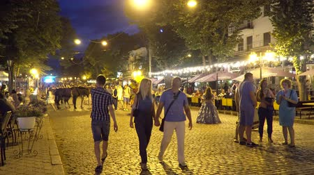 barmetro : Odessa, Ukraine - June 26, 2016: People walk on the night street Deribasovskaya. Video was obtained in a public place in the open event with a free input. Stock Footage