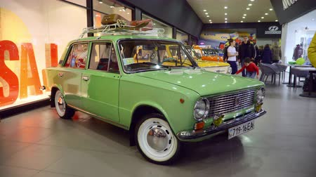 exotikou : Mariupol, Ukraine - October 29, 2016: Exhibition of vintage cars in the mall. Soviet retro cars. VAZ 2101 Zhiguli.