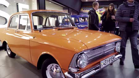 exotikou : Mariupol, Ukraine - October 29, 2016: Exhibition of retro cars. Orange Moskvitch 412.