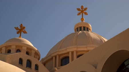 iconography : Domes with crosses on the Coptic Church in Sharm El Sheikh.