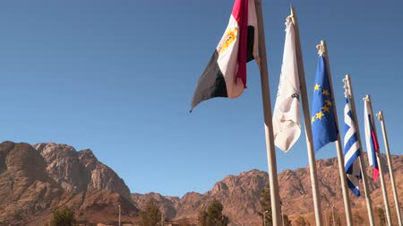 mutual assistance : Flags of different countries on a background of mountains.