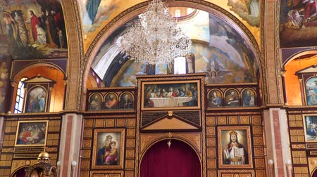 iconography : Interior elements in the Coptic Christian Church in Egypt. 4K UHD video footage.