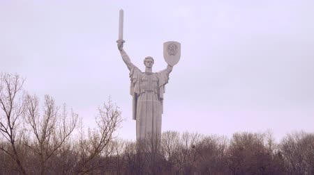 kard : KIEV, UKRAINE - December 14, 2016: Motherland giant steel monument sculpture in Kiev Ukraine.