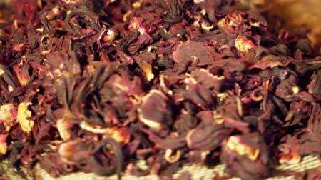 hibiscus tea : Hibiscus red dry tea closeup. Rotates