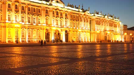 alexander column : Illuminated building of the Hermitage at night. St. Petersburg Russia