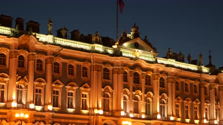 alexander column : Russia The exterior of the Hermitage. In St. Petersburg at night Stock Footage
