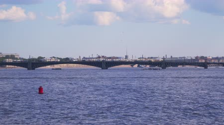 annunciation : Trinity Bridge in St. Petersburg. One of the bridges over the Neva River Stock Footage