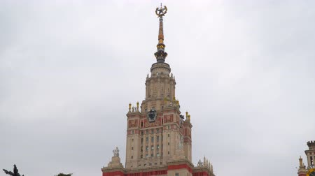 stalinist : Tower of the building of Moscow State University. Stock Footage