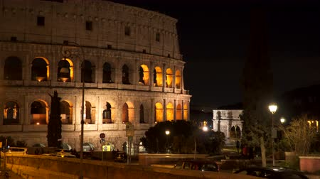 arch of constantine : Colosseum at night in Rome, Italy