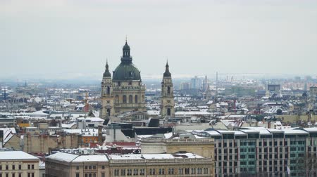 st stephen : Budapest skyline with St Stephen. Stock Footage