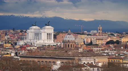 altar : Altare della Patria and rooftops of Rome. Stock Footage