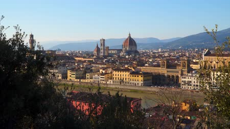 firenze : Florence at sunset. View of Florence from Piazzale Michelangelo. Stock Footage