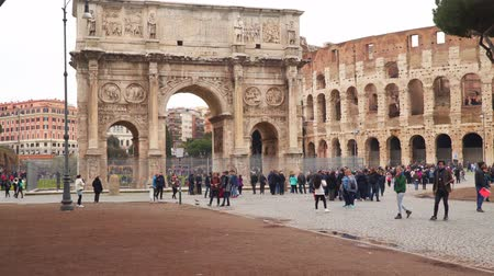 palatine : Rome, Italy - March 19, 2018: Arch of Constantine near the Colosseum in Rome
