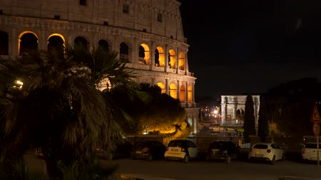 arch of constantine : Rome, Italy. The Colosseum in the Evening. Stock Footage