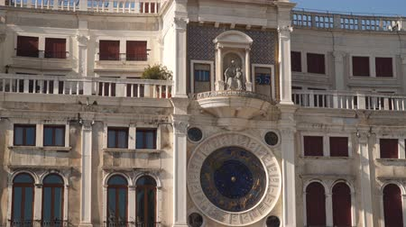 clockface : Clock Tower (Torre dell Orologio) at San Marco Square in Venice, Italy Stock Footage