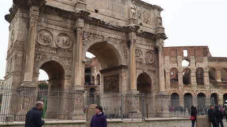 palatine : Rome, Italy - March 21, 2018: Historic Arch of Constantine is a triumphal arch in Rome