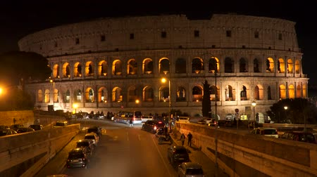 colosseo : Rome, Italy - March 22, 2018: Illumination of the Colosseum at night