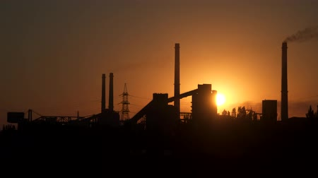 ironworks : Sunrise over the metallurgical plant. TimeLapse