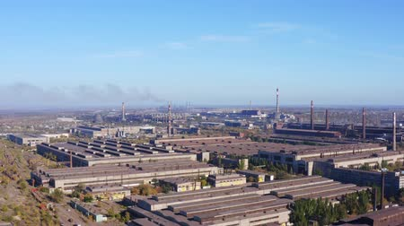 ecologically : Industrial enterprise. Environmental pollution. Aerial drone shot Stock Footage
