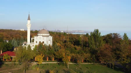 grand mosque : The building of a mosque among autumn trees. Aerial video