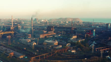 metallurgic : Aerial video Metallurgical plant. Evening time. Environmental pollution