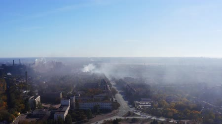дымоход : Smog over the city. Aerial view