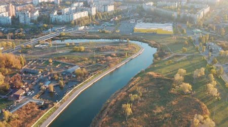 zarostlý : River in the city at sunset. Aerial view. Mariupol Ukraine
