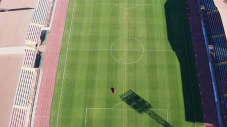 lugares sentados : Birds-eye football field. Aerial video