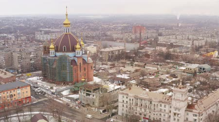 styczeń : Large temple in winter Aerial view. Mariupol Ukraine Wideo