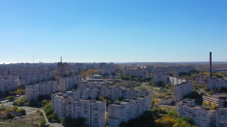 Украина : Aerial video .. Mariupol Ukraine. View from the aerial view of the town. Стоковые видеозаписи