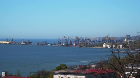 nave container : Coast of the port city. Mariupol Ukraine