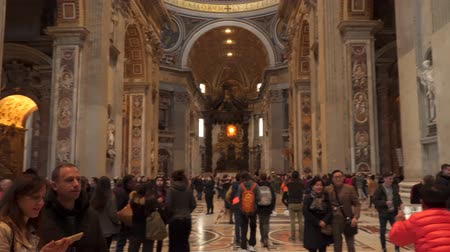 chapel : Rome, Italy - March 22, 2018: St. Peters Basilica. The interior Stock Footage