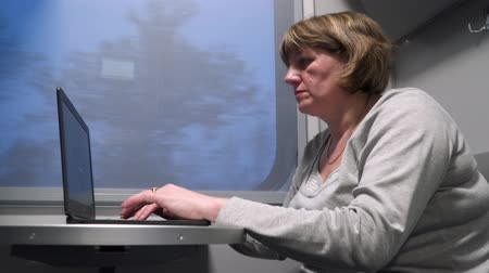 train workers : A woman in a train car works with a laptop. Stock Footage