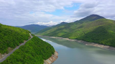 picturesque view : Aerial view. Lake among mountains covered with forest.