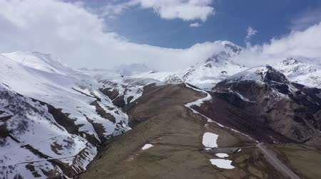 wilderness : Aerial view. Mount Kazbek - the most popular peak of Georgia. Height is 5033 m.