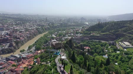 funicular : A birds eye view of the city of Tbilisi. You can see Narikala Fortress and the Kura River