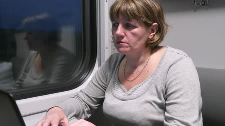 train workers : Young woman on the train working with a laptop.