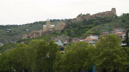 funicular : Tbilisi, Georgia - May 2, 2019: Narikala fortress and cable car in Tbilisi