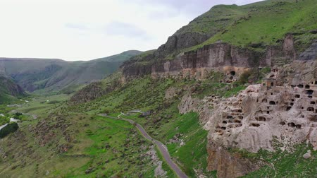 kazılmış : Cave city and monastery Vardzia on the banks of the Kura River. Georgia. Aerial view