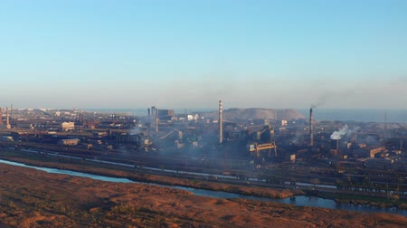 blast furnace : Aerial view of the metallurgical plant. Evening time