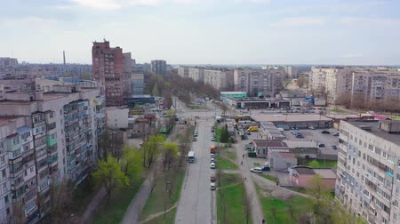Mariupol, Ukraine - April 12, 2019: Houses and streets of the city. Aerial view