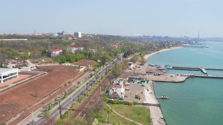 külvárosok : Metallurgical plant on the seashore. Environmental pollution. Sea coastline. Aerial view. Mariupol Ukraine