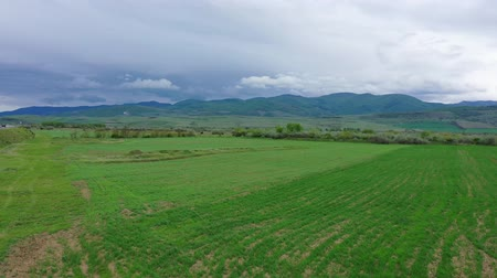 風通しの良い : Spring field on the background of mountains. Cloudy sky Aerial view